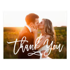 custom wedding thank you postcards zazzle co uk Wedding Thank You Bunting Uk chic hand lettered wedding thank you postcard Succulent Thank You Bunting