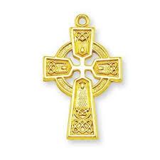 gold sterling irish celtic cross pendant w 24in chain w gift box