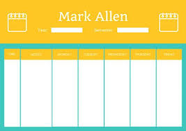 Class Planner Online Customize Class Schedule Templates Online Teal And Orange Daily