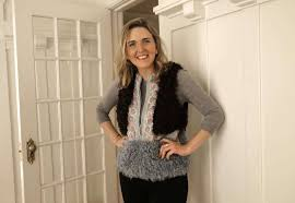 mary doyle models a giambi bordeaux fur vest at her home on fri march