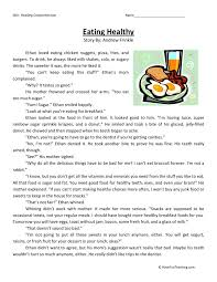 This Reading Comprehension Worksheet - Eating Healthy is for ...