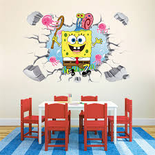 Us 4 99 New 3d Waterproof Wall Floor Spongebob Stickers Removable Room Decor Mural In Wall Stickers From Home Garden On Aliexpress