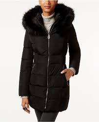 black puffer coats ivanka trump faux fur trim hooded down puffer coat