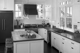 Kitchen:Dazzling White Cabinets And Black Appliances Library Staircase  Midcentury Medium Gutters Cabinetry Upholstery Kitchen