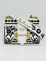 prada black white embroidered leather cahier bag 1bd045