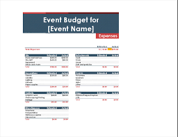 Sample Expense Sheets Event Budget