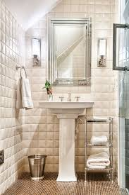 the tile greenville sc traditional bathroom and brown floor tile framed mirror three dimensional tile towel shelf trash can wall sconces