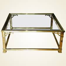 vintage mastercraft polished brass beveled glass coffee table blithewold home rubylux
