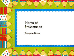 Powerpoint Frame Theme Frame Of Colorful Funny Pencils Powerpoint Template