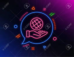 Planet Neon Light Safe Planet Line Icon Neon Laser Lights World Sign Ecology