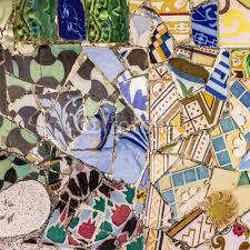 wall mural mosaic tile decoration broken glass park guell barcelona sp