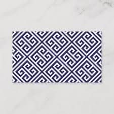 Blank Business Card Template Navy Blue Greek Key Blank Business Card Template