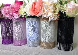 10x lace and rhinestone covered glass vases wedding bridal shower tea party table centerpieces