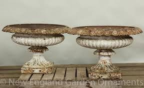antique cast iron urns pair new