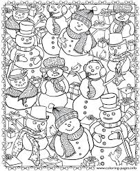 Complex Coloring Page Adult Snowman Coloring Pages Printable Complex