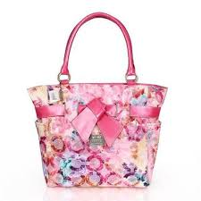 Coach Poppy Bowknot Monogram Medium Pink Totes CDF Outlet Online