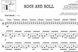 drum sheet rock and roll led zeppelin drum sheet music onlinedrummer com