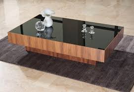 contemporary coffee table wooden rectangular square crystal