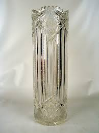 high quality signed j e tall flower vase american brilliant cut glass for