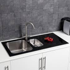 white kitchen sink. Sauber 1.5 Bowl Kitchen Sink With White Glass Drainer