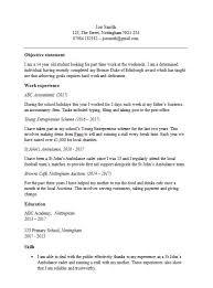 Teenage Cv First Cv Template Uk Magdalene Project Org