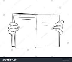 sketch of hands holding open book hand drawn isolated vector line art ilration