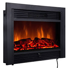 costway 28 5 fireplace electric embedded insert heater glass log flame remote home com