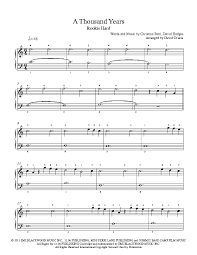 a thousand years piano sheet music a thousand years by christina perri piano sheet music rookie level