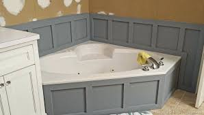 installing wainscoting around bathtub in master bathroom replacing tub surround fiberglass with tile updates part 2