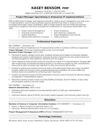 Resume Project Manager Sample Resume For A Midlevel It Project