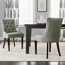 room chairs safavieh en vogue dining abby grey linen nailhead dining chairs set of 2