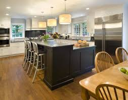 Kitchen:Rustic Kitchen With Black Huge Kitchen Island And Unique L Shaped  Kitchen Table L