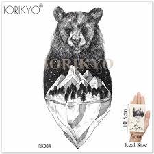 Iorikyo Men Cool Polar Bear Temporary Tattoo Triangle Glacier Arm Black Fake Tatoos 3d Women Wrist Forest Wolf Waterproof Tattoo