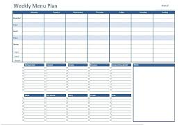 monthly meal planner template free excel weekly menu plan template dowload