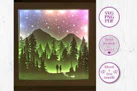 Svg templates to create size specific 3d boxes, lids, drawers we will be posting new svg box templates often. Couple Forest Walk 3d Shadow Box Graphic By Jumbleink Digital Downloads Creative Fabrica