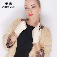 white leather women s gloves genuine leather cotton lining warm fashion leather gloves gloves warm winter