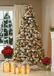 beautiful christmas tree. Exellent Christmas Hereu0027s A Creative Way To Decorate Christmas Tree With Deco Ribbons Gold  White And Brown Ribbons Are Tied Together Wrap The Tree Gold  To Beautiful Tree U