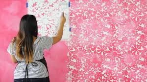 Stencil Art Designs For Walls How To Stencil A Diy Watercolor Mural Painting A Pink Flower Wallpaper Design With Wall Stencils