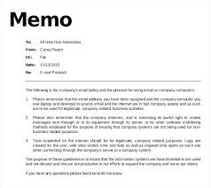 Memo Example Business Email Policy Memo Template Download In Staff Company