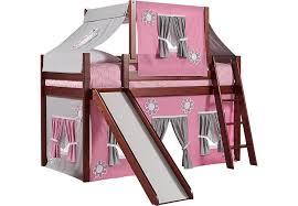 bunk bed with slide and desk. Pink Cottage Cherry Jr. Tent Loft Bed With Slide And Top Bunk Desk