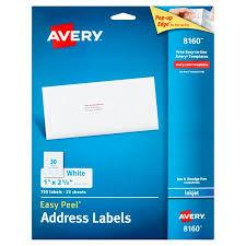 Avery Label Templates 8160 Avery 8160 Easy Peel White Inkjet Address Labels 750 Count