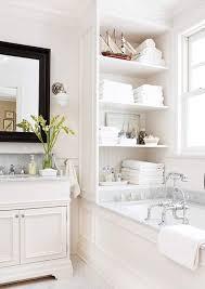 bathroom space savers bathtub storage: built in bath storage this is the prettiest pantry all white simplistic bathroom decor white ideas bathroom architecture design interior interior design