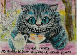 aceo original painting cheshire cat miniature abstract acrylic art artist