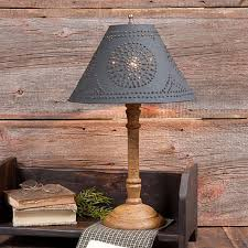 punched tin chandelier elegant primitive wooden table lamp 12 punched tin shade 6 custom