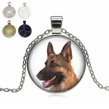 brown german shepherd gl dome necklace