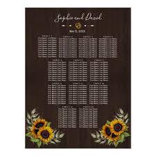 Vintage Old Wood Sunflowers Wedding Seating Chart