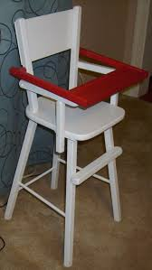vintage wood wooden doll baby high chair furniture w flip tray 27 tall