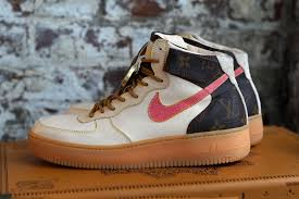 louis vuitton air force ones. a nike air force 1 custom with some louis vuitton heritage ones