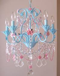 pink chandelier lighting. Marvellous Adorable Blue Design And Pink Flowers Chandelier For Girls Room Lighting