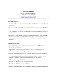 Sample Resume Early Childhood Education Teacher New Sample Cover